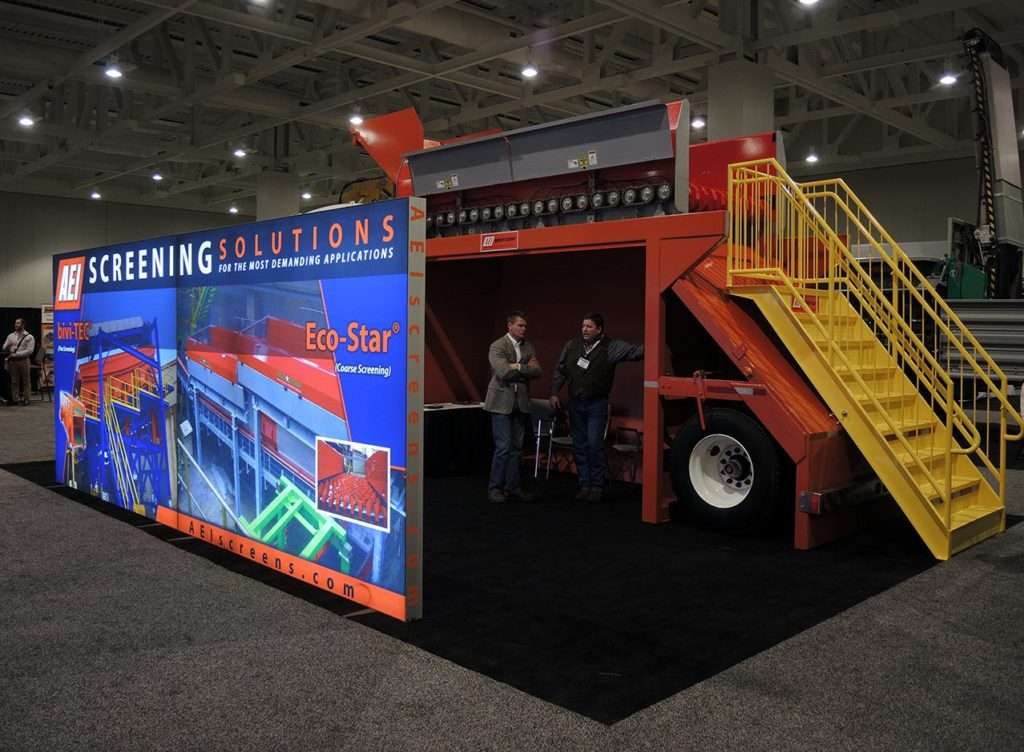 Aggregates Equipment exhibit including a Panoramic Lightbox